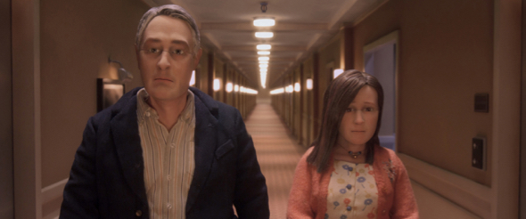 David Thewlis voices Michael Stone and Jennifer Jason Leigh voices Lisa Hesselman in the animated stop-motion film, ANOMALISA, by Paramount Pictures